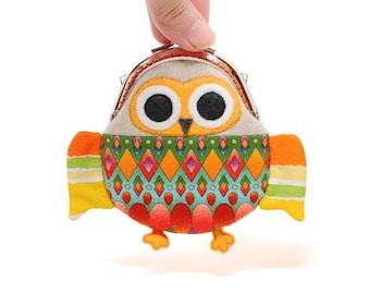 Cute magical orange owl clutch purse