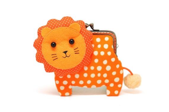 Little orange lion clutch purse in bubbly dotty print