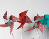 Dr. Seuss Dr. Suess Red and Aqua birthday Wedding favor Pinwheels  -12 Mini Pinwheels (Custom orders welcomed)