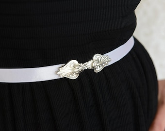Wedding dress Belt - Silver Belt - White Belt - Wedding Accessories - Bridal belt - Wedding Sash - Bridal accessory - bridesmaids Dress Belt