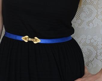 Bridesmaids belt - Waist Belt - Royal Blue Belt - Bridesmaids dress belt - Gold Belt - Bridal shower gift - something Blue - Skinny Belt