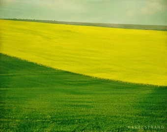 Landscape photograph, nature in spring art print, travel photography, lush green fields, Scandinavian art
