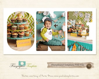 Baby Storyboard Template Cake Smash Collage Storyboard Photography Templates - S132