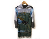 Cyber Grunge Goth Boho Fusion Color Blocked Black White and Blues Rayon Fringed Upcycled Scarf Hoodie Caftan size Small