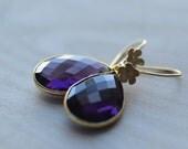 Amethyst Purple  Earrings  Flowers Delicate Gold Vermeil Weddings Brides Bridesmaids Graduation Prom  Black Tie