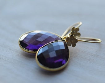 Amethyst Purple  Earrings  Flowers Delicate Gold Vermeil Weddings Brides Bridesmaids Graduation Prom  Black Tie