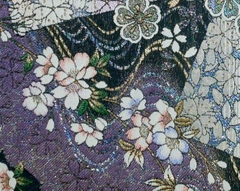Silk candle mat - purple with blowing cherry blossoms