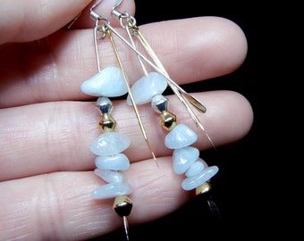 Aquamarine pebble dangle earrings (the birthstone for March)