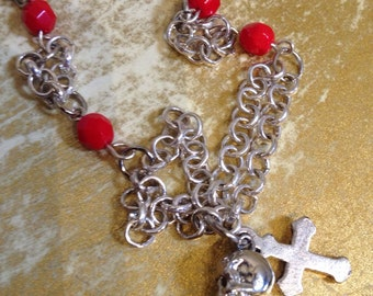 Red and silver skull and cross bracelet