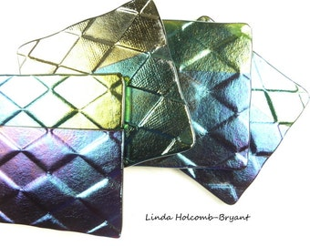 Fused Iridescent Glass Coaster Set of Four