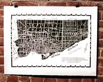BACK IN STOCK Toronto Map Silkscreen Poster Black