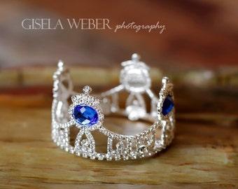 Baby Boy Crown, Newborn Photo Prop Boy, Blue Newborn Crown, Blue Baby Crown, Maternity Prop, Silver Newborn Crown, Baby Boy Cake Topper