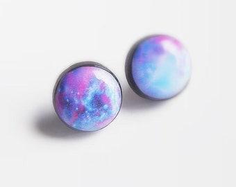 Galaxy Stud Earrings Universe Earring Studs Blue Purple Ear Posts Space Jewelry