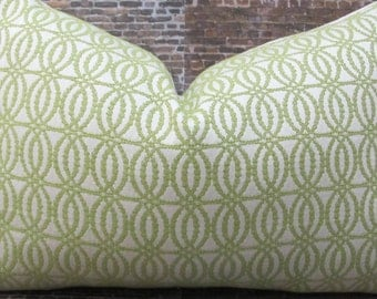 SALE Designer Pillow Cover - 10 x 20- Nico Scroll Lime Green