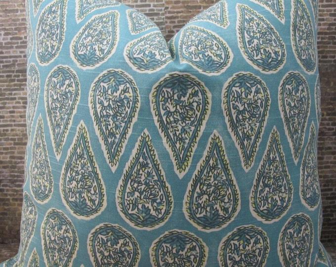 Designer Pillow Cover - Lumbar, 16 x 16, 18 x 18, 20 x 20, 22 x 22, 24 x 24 - Anya Paisley Mist