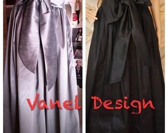 Maxi Skirt with Sash Romantic Black Long Skirt Pockets Elegant skirt Famous black skirt formal pleated skirt