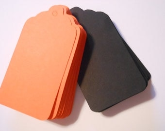 50 Count Halloween Orange and Black Scalloped Edge Paper Tags