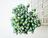 Mulberry Scrapbooking paper flower tiny Sea foam  rose Buds for crafting, wedding decoration / pack