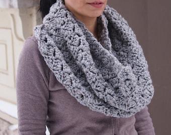 Grey woman Infinity scarf loop circle tweed neckwarmer oversized scoodie capelet chunky handmade wrap crochet