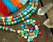 Pool Party Mix: Blue, Orange, White Bone Rondelle Beads / 5x2mm / Dyed Cow Bone, India /Fall, Tribal, Boho, Yoga Style