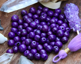 Orchid : Real, Natural Acai Beads / South American Eco- Beads / 10mm, 100 beads / Violet Purple, Round, Large Hole / Jewelry Making Supply