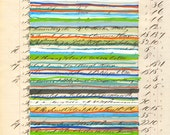 Page 89: Original mixed media art vintage book blue yellow gray beige green red white linear stripes modern art
