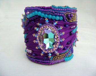 Purple and Turquoise Silk Shibori Cuff