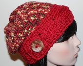 Slouchy Hat Slouch Beanie Cable Button Hat Hand Knit Winter Women Hat Cable Slouchy, Crochet Slouchy Hat READY TO SHIP