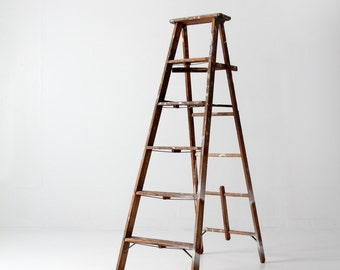 vintage painter's ladder, wood ladder, tall folding ladder