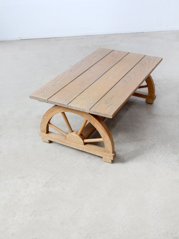 1940s wagon wheel coffee table vintage California ranch