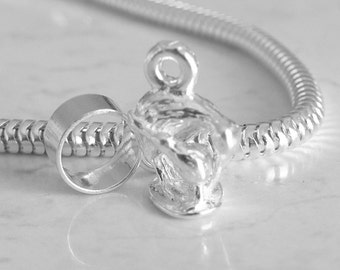 New Zealand KIWI Bird and Baby Sterling Silver Charm Fits All Slide On Bracelets