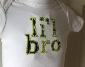 Li'l Bro Body Suit 0-3 Months in Green, Blue and Gray