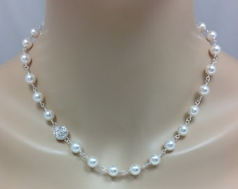 Swarovski Pearl and Pave Rhinestone Bridal Necklace, The Maddie