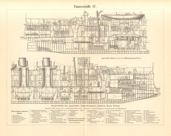 """1897 General Arrangement Drawing of the """"Infante Maria Theresa"""" Armoured Battleship"""