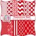 Red Valentine Digital Paper Pack - Valentine Hearts Quatrefoil Chevron Dots Zebra Print Digital Scrapbook Paper INSTANT DOWNLOAD