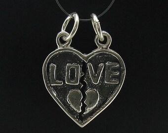 PE000547  Sterling silver pendant  love heart  925 solid