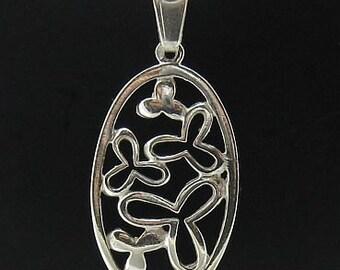 PE000259 Sterling silver pendant  925 ellipse flower solid