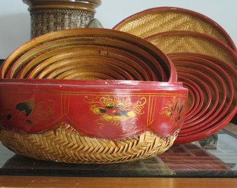 REDUCED - Wedding baskets - Nesting boxes in Rattan and red lacquer - One of a kind