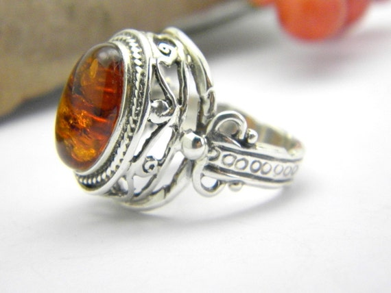 Statement ring amber stone,  Ornate Filigree  sterling silver hand made jewelry, size 7.75  sale
