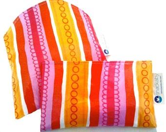 Pink/Orange /Red Stripe Snackaby dishwasher-safe reuseable sandwich and snack bag set