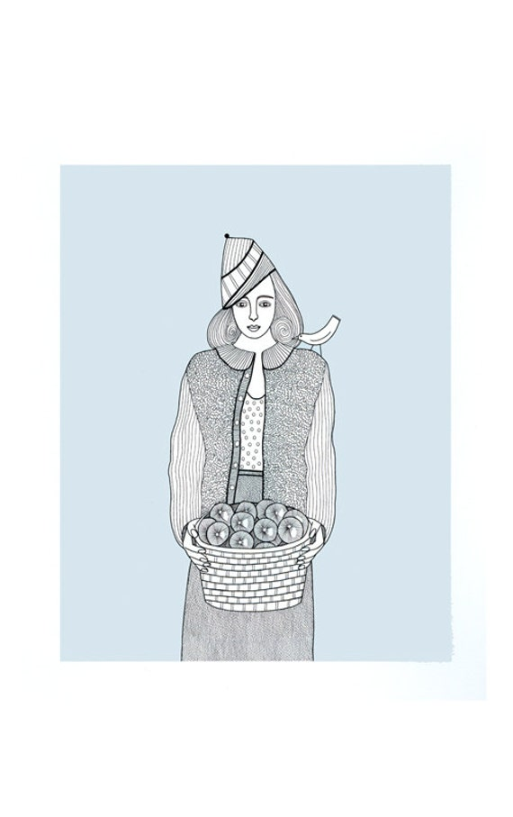 "10"" x  8"" Art Illustration  Print Figurative Drawing Woman Selling Apples Birds Blue Grey Gray Pen And Ink Drawing"