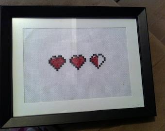 Zelda Health Hearts - framed cross stitch