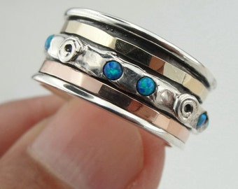 Stunning Handmade 9K Gold Silver Swivel OPAL Ring Size 8 (I r533OP)