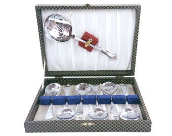 Art Deco Chrome Plated Dessert Set Fruit Spoons 1930s