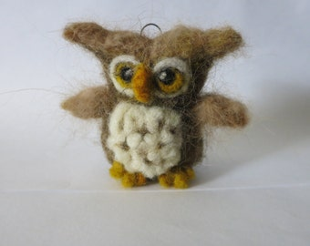 wool needle  felted owl