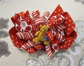 Christmas Teddy Bear Holiday Korker Bow Clip