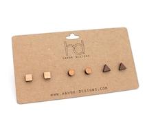 Laser Cut Earring Set, Geometric Stud Earring Set, Wooden Mixed Shapes Post Earring Set of 3