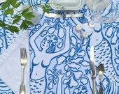 NO IRON Blue Mermaid Tablecloth Choice of Size Color Nadine Westcott Original Design Wedding Tablecloth Nautical Seaside Beach Seashore