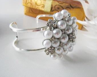 Rhinestone with White Faux Pearl Cuff Bracelet  Bridal Wedding Jewelry Pageant Jewelry