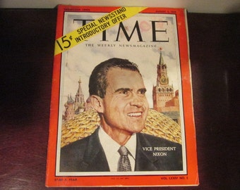Collectible Time Magazine August 3, 1959 Vice President Nixon Cover Good - Very Good Condition Great Ads